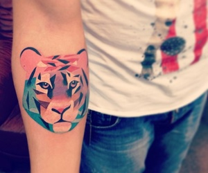 tattoo, tiger, and arm image