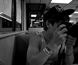 boy, camera, and black and white image