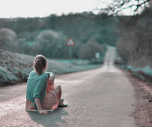 girl, road, and alone image