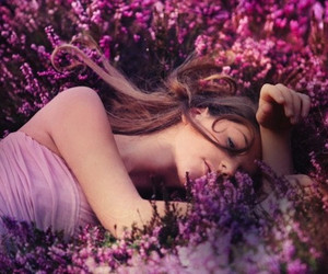girl, flowers, and purple image