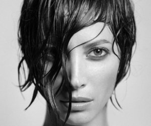black and white, Christy Turlington, and nose image