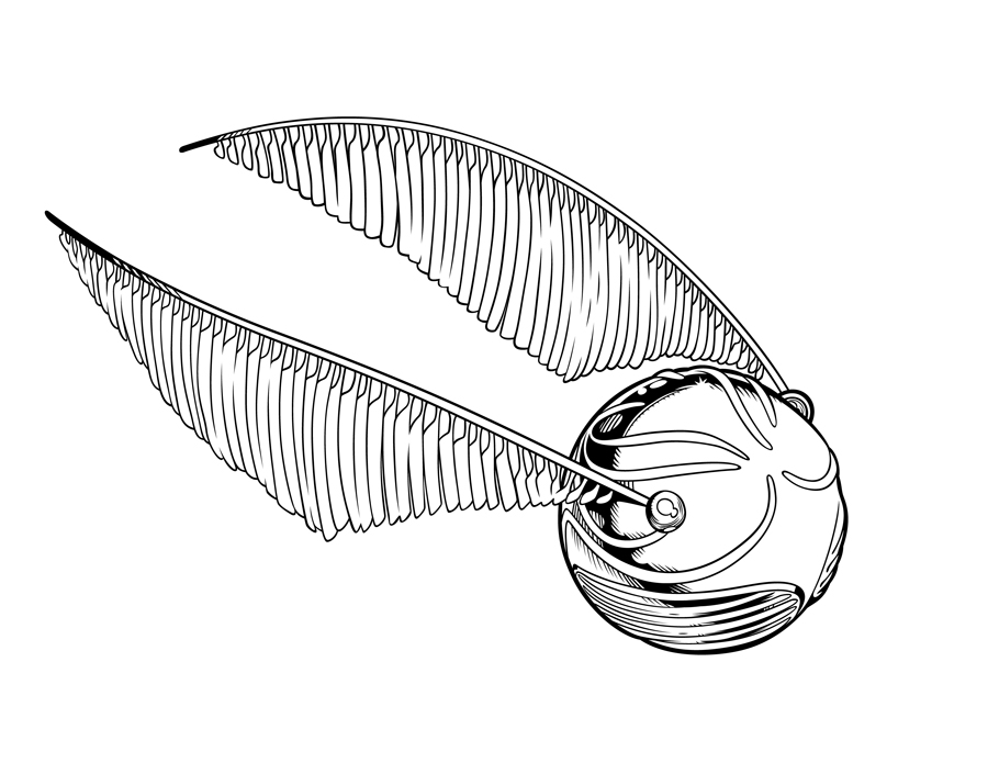 It's just a graphic of Striking Harry Potter Snitch Drawing