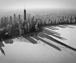chicago, city, and black and white image