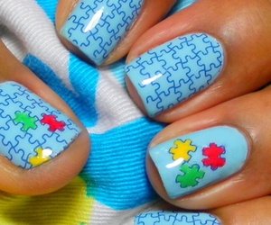 nails, puzzle, and blue image