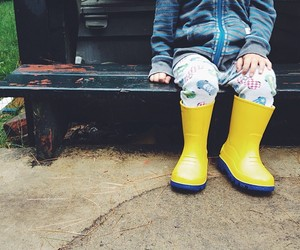 children, puddles, and rain image