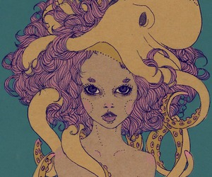 girl, octopus, and art image