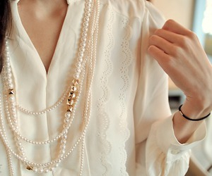 lace, pearls, and top image
