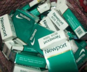 ciggarette, newport, and smoke image