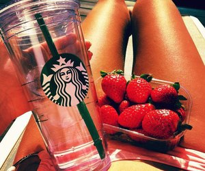 strawberry, summer, and starbucks image