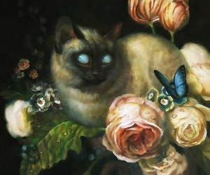 cat, art, and flowers image