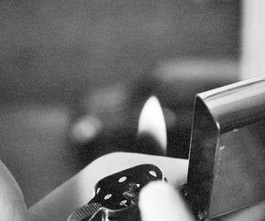 black and white and fire image