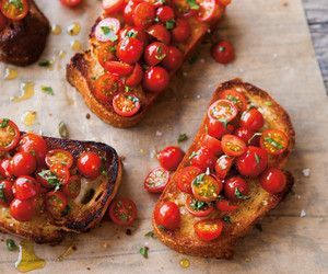 basil, bruschetta, and tomato image