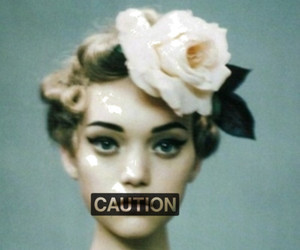 caution, flowers, and vintage image