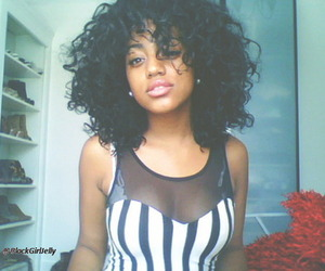 cute face, sexy hair, and pretty black girls image