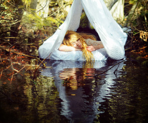 girl, water, and tent image