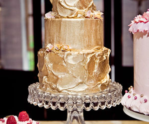 cake, gold, and wedding cake image