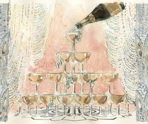 champagne, art, and drawing image