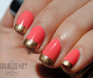 glitter, peach, and summer nails image