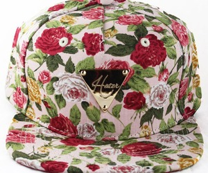 floral, hat, and hater image