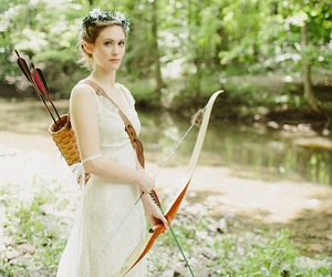 bow and arrow, bride, and wedding dress image