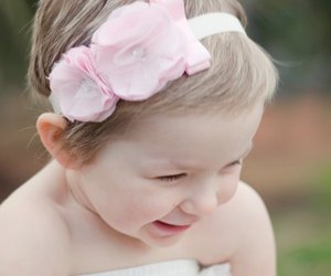 baby, white, and flowers image