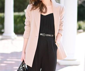 black, jumpsuit, and pale pink image