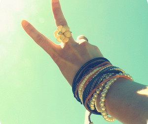 peace, ring, and bracelets image