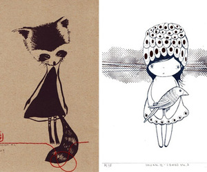 black and white, drawing, and print image