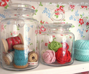 jars, sewing, and rose image