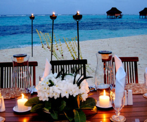 beach, candles, and exotic image