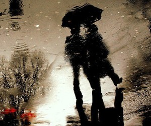 rain, couple, and umbrella image