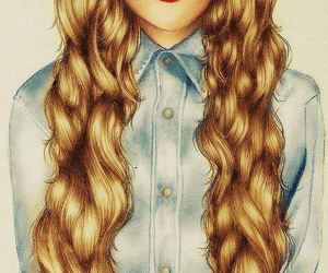 hair, drawing, and lips image