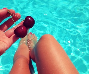 summer, cherry, and girl image