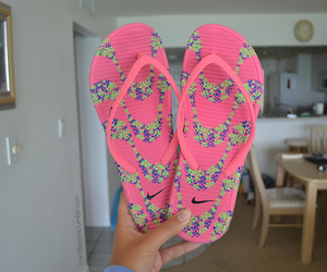 fashion, flip flops, and girly image