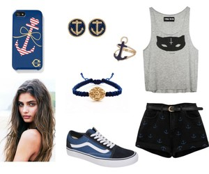 navy, outfit, and Polyvore image