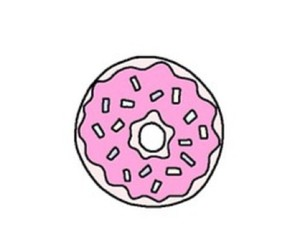 donuts, pink, and drawing image