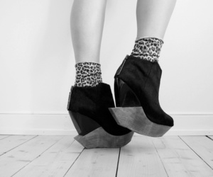 black and white, heels, and shoes image