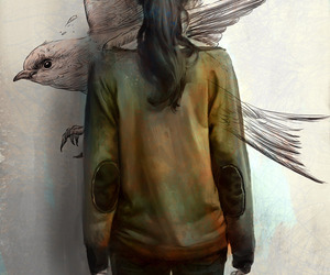 bird, girl, and art image