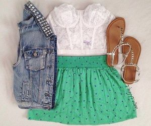 sandals, style, and green skirt image