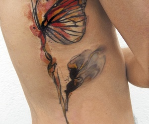 butterfly, guy, and tat image