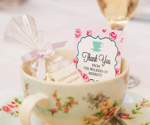 candy, champagne, and cup of tea image