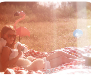 flamingo, girl, and heart-shaped glasses image