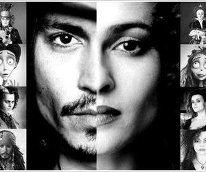 johnny depp, helena bonham carter, and black and white image