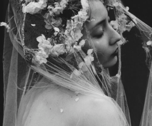 flowers, black and white, and beauty image