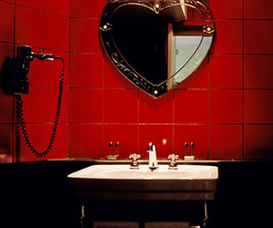 bathroom, mirror, and red image