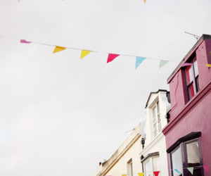 bunting, colorful, and Houses image