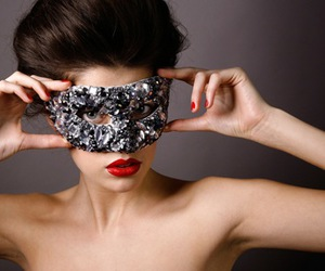 girl, mask, and red lips image