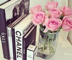 chanel, book, and roses image