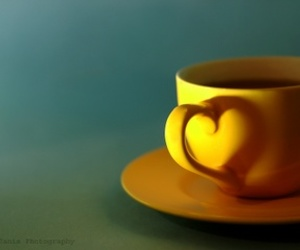cup, heart, and yellow image