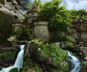 castle, waterfall, and Poland image